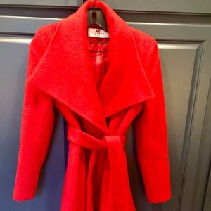 'Mia' Brushed Wool Blend Wrap Coat T TAHARI